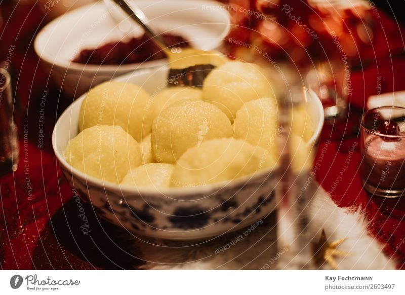 red cabbage and dumplings as a traditinional german christmas dish bowl celebration christmas dinner cook cuisine delicacy eat feast festive food gastronomy