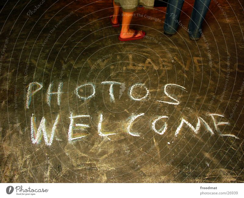 PHOTOS WELCOME Dirty Photography Welcome Invitation Demand Scribbles Art Media Chalk Floor covering tacheles Characters