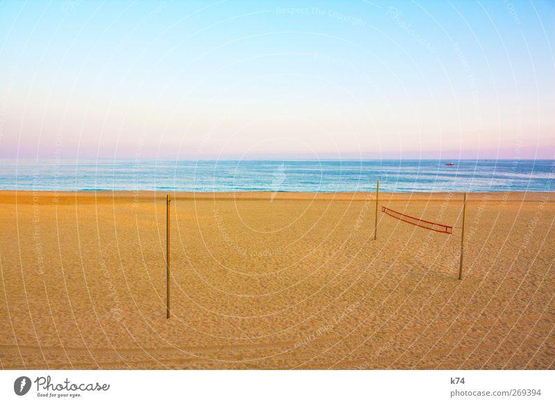 beach volleyball Volleyball (sport) Sky Cloudless sky Horizon Coast Ocean Glittering Beautiful Blue Yellow Calm Net Volleyball net Pastel tone Colour photo