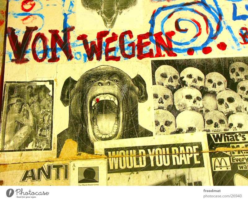 Art Newspaper Against Monkeys Exhibition Protest Terror Collage Snippets