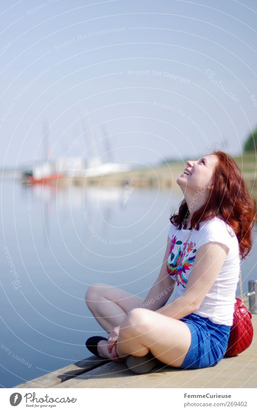 Human being Woman Youth (Young adults) Vacation & Travel Beautiful Sun Summer Joy Adults Far-off places Feminine Laughter Style Lake Young woman