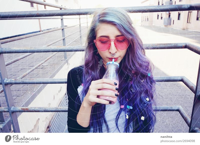 Happy beautiful teen with pink sunglasses Beverage Drinking Cold drink Bottle Lifestyle Style Beautiful Senses Summer Human being Feminine Young woman