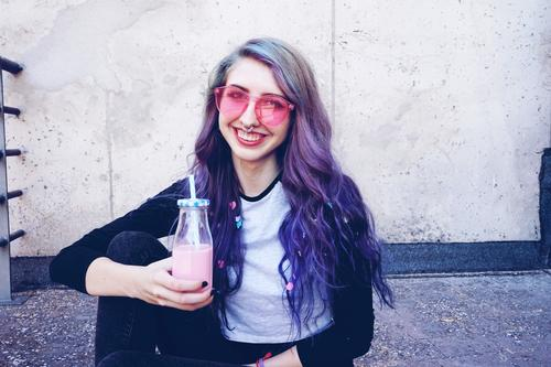 Happy beautiful teen with pink sunglasses Beverage Bottle Lifestyle Style Beautiful Summer Party Feasts & Celebrations Human being Feminine Young woman