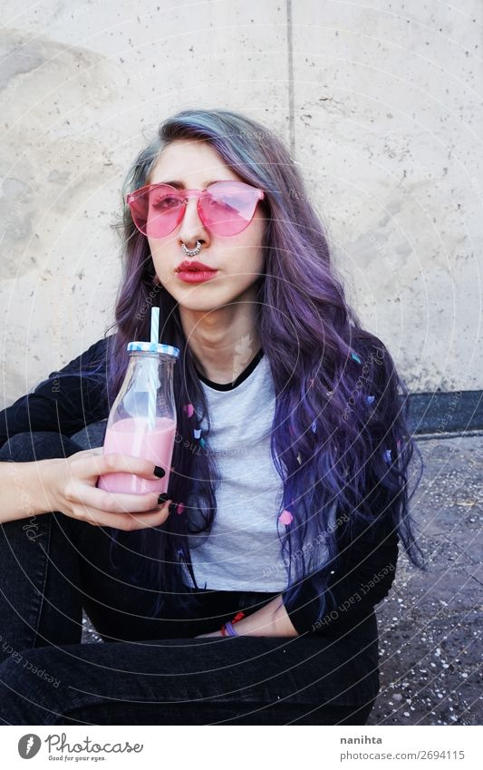Happy beautiful teen with pink sunglasses Beverage Bottle Lifestyle Style Beautiful Summer Human being Feminine Young woman Youth (Young adults) Woman Adults 1