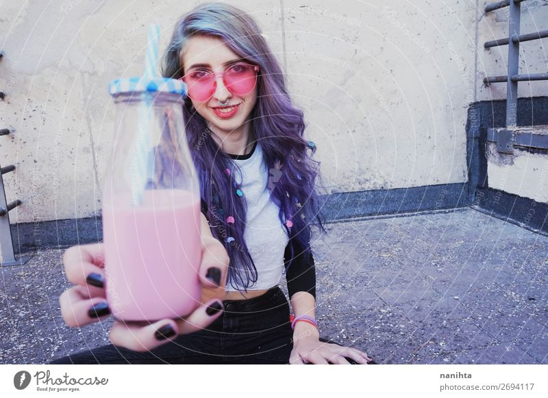 Happy beautiful teen with pink sunglasses Beverage Bottle Lifestyle Style Beautiful Summer Party Human being Feminine Young woman Youth (Young adults) Woman