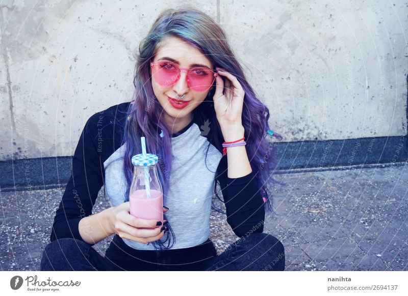 Happy beautiful teen with pink sunglasses Nutrition Breakfast Beverage Drinking Cold drink Bottle Lifestyle Style Beautiful Summer Human being Feminine