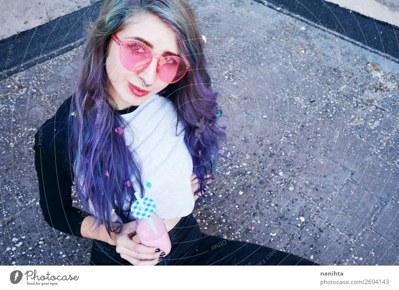 Happy beautiful teen with pink sunglasses Woman Human being Youth (Young adults) Young woman Summer Colour Beautiful 18 - 30 years Lifestyle Adults Funny