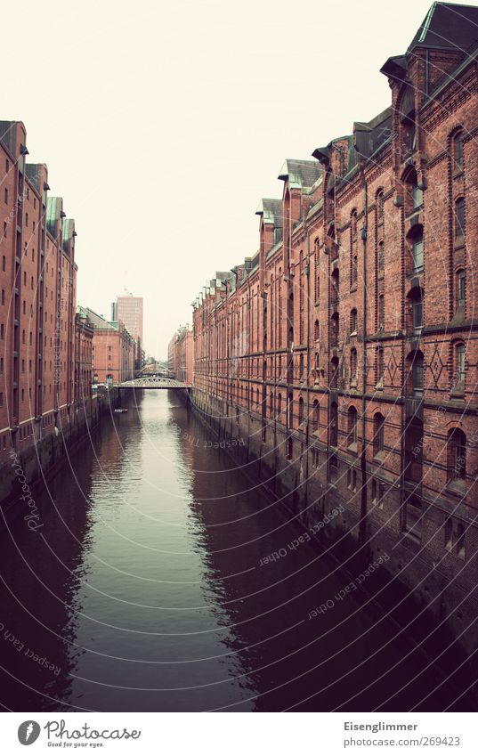 Speicherstadt HH Hamburg Federal eagle Europe Town Port City Deserted Architecture Storehouse Dark Channel Surface of water Waterway Hanseatic City Bridge