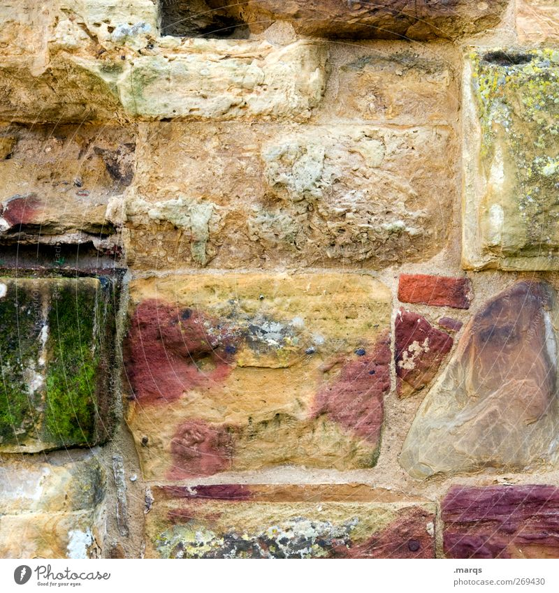 stone by stone Wall (barrier) Wall (building) Facade Stone Old Exceptional Uniqueness Kitsch Multicoloured Past Transience House (Residential Structure)