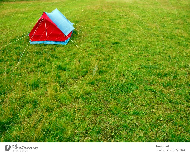 corner tent Accommodation Meadow Grass Summer Camping Style Tent Camping site Mosquitos Light blue Sky blue Red Flashy Green Triangle Herring Zipper Insect