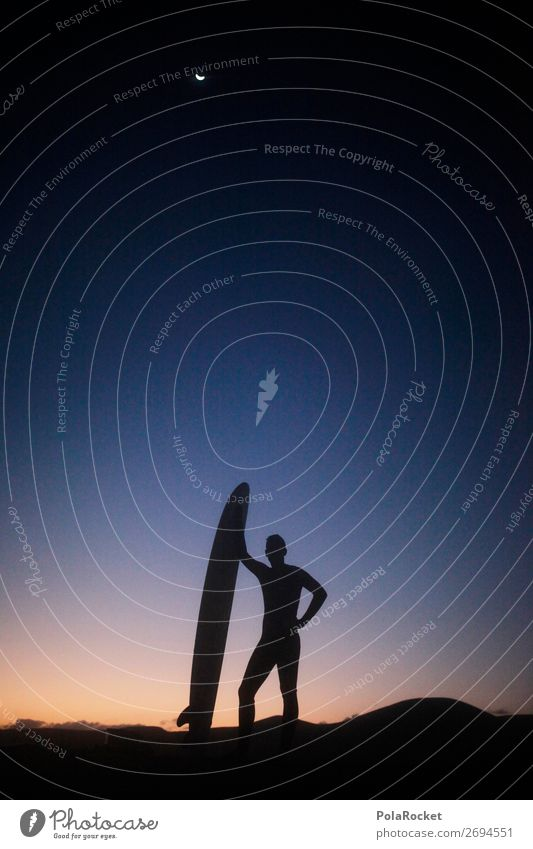 #AS# hang loose Art Work of art Esthetic Surfing Surfer Surfboard Surf school Romance Exterior shot Aquatics Idyll Extreme sports Religion and faith Silhouette