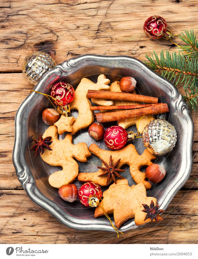 Christmas cookies and xmas baubles christmas holiday gingerbread decoration winter sweet dessert festive cinnamon homemade celebration bake anise vintage