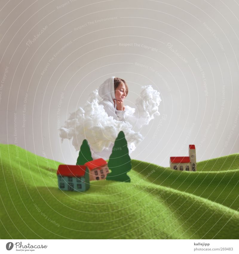 Human being Sky Nature Tree Plant Girl Animal Clouds House (Residential Structure) Environment Landscape Feminine Life Laughter Small Horizon