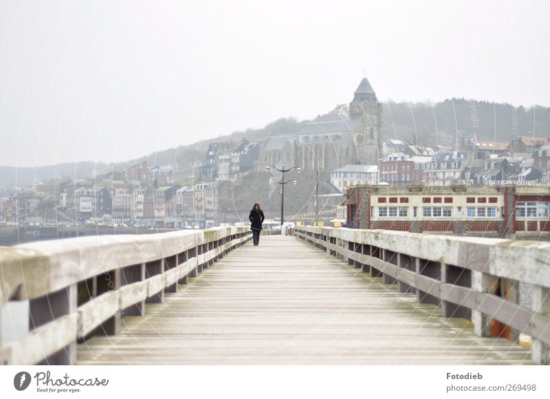 lone walk Ocean 1 Human being Fog Bridge Loneliness Subdued colour Exterior shot Copy Space top Day Silhouette Deep depth of field Central perspective Long shot