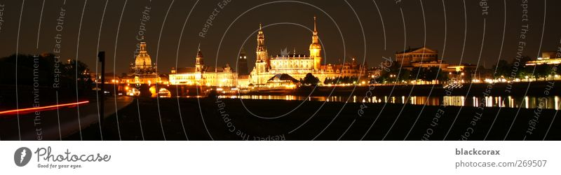 Dresden at night Town Old town Skyline Tourist Attraction Landmark Elegant Glittering Large Historic Warmth Subdued colour Exterior shot Evening Night Light