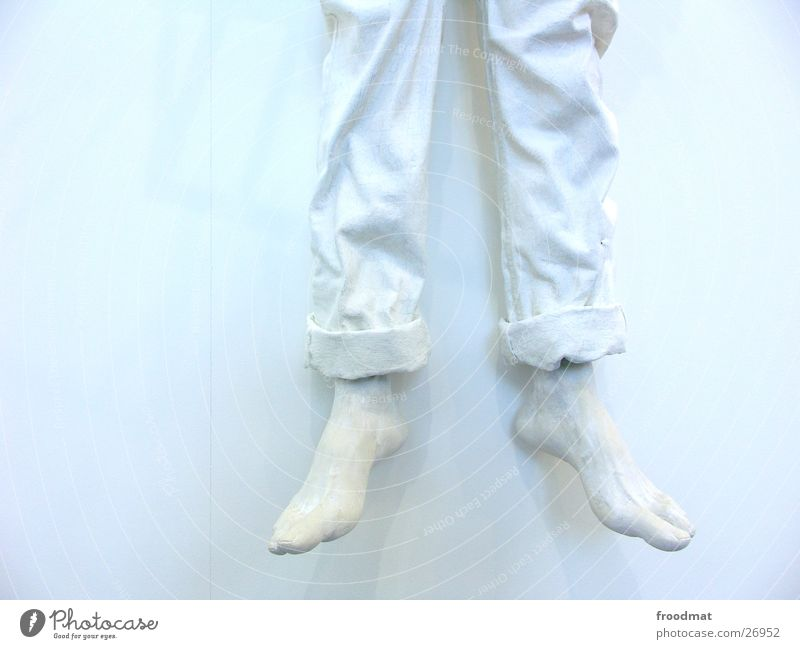 cold feet White Art Cold Hang up Wall (building) Sculpture Motionless Hard Unicoloured Obscure Type Forum Legs Feet Wrinkles Bright Colour