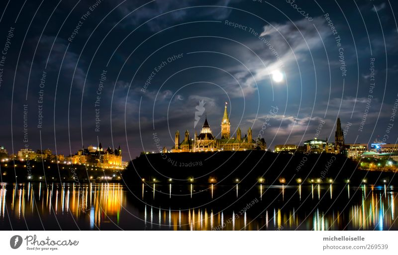 Political Glow Clock Library Clouds Hill Town Skyline Castle Architecture Blue Colour Peace Politics and state Canada canadian parliament Maple leaf super moon