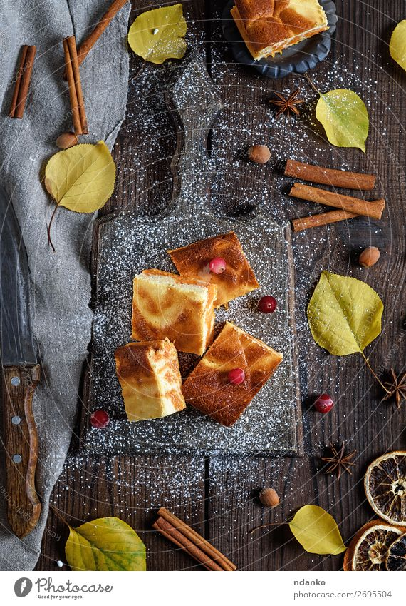 square pieces pumpkin pie Cheese Cake Dessert Candy Nutrition Eating Breakfast Knives Table Nature Autumn Wood Fresh Delicious Natural Brown Yellow White