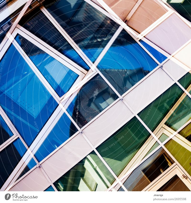 complex Manmade structures Architecture Window Line Living or residing Esthetic Authentic Cool (slang) Hip & trendy Uniqueness Modern Blue Multicoloured Yellow