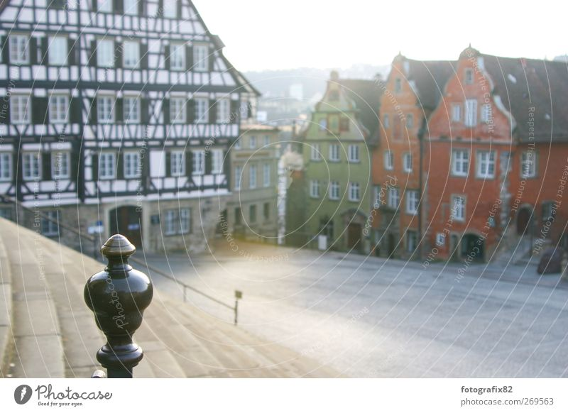 City House (Residential Structure) Architecture Facade Stairs Places Idyll Banister Downtown Old town Town Half-timbered facade Swabian Half-timbered house