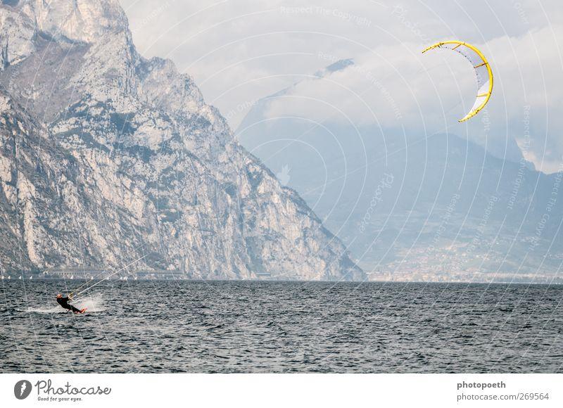 Kitesurfer, Lake Garda Waves Mountain Sports Aquatics Sportsperson Nature Water Horizon Rock Alps Lakeside Movement Athletic Speed Blue Brown Kiting Kiter