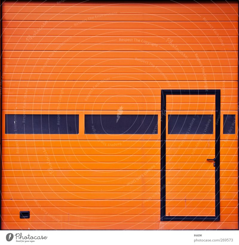 Black Window Line Orange Door Closed Simple Stripe Industry Gate Entrance Trade Graphic Workplace Garage Disk