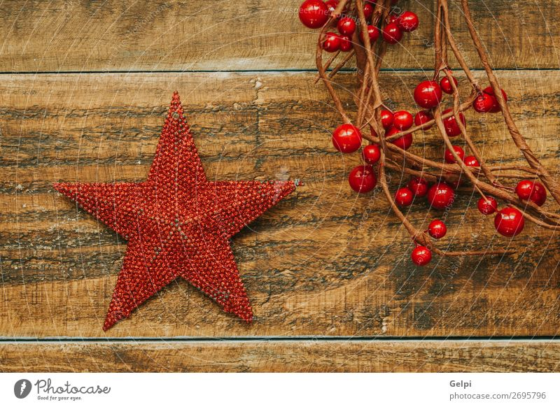 Red Christmas star with branch of berries Fruit Design Joy Happy Beautiful Winter Decoration Feasts & Celebrations Christmas & Advent Ornament Sphere Glittering