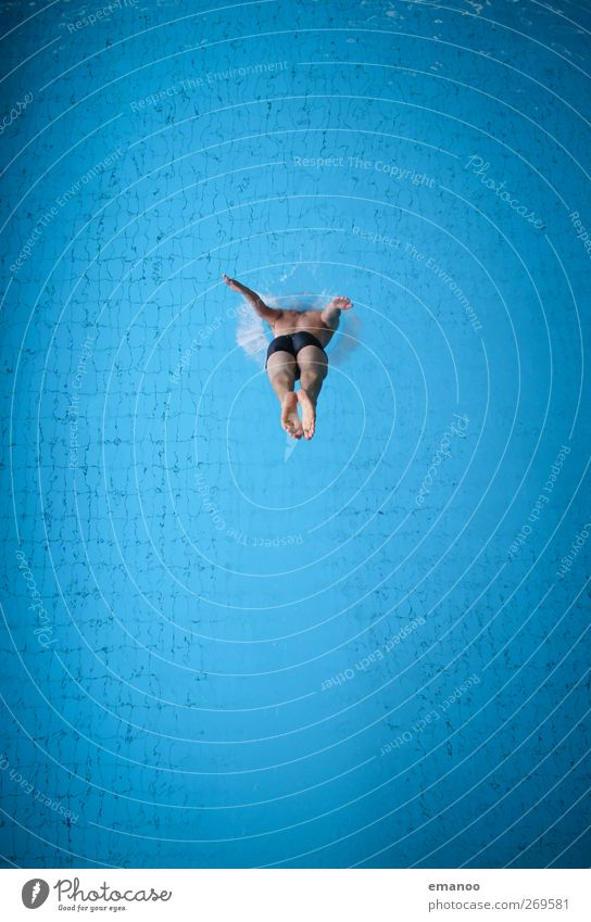 Human being Man Blue Water Joy Adults Cold Sports Jump Style Body Swimming & Bathing Power Fear Masculine Tall