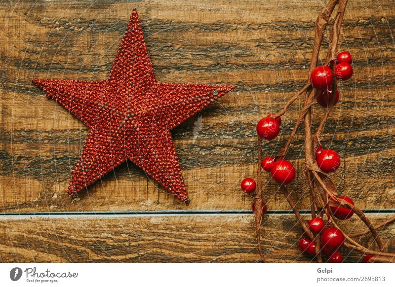 Red Christmas star with branch of berries Christmas & Advent Colour Beautiful White Joy Winter Happy Feasts & Celebrations Fruit Design Decoration Bright
