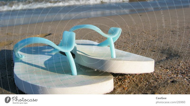 flip-flops Flip-flops Footwear Shuffle Beach Ocean Spain White Things Leisure and hobbies Sand Blue