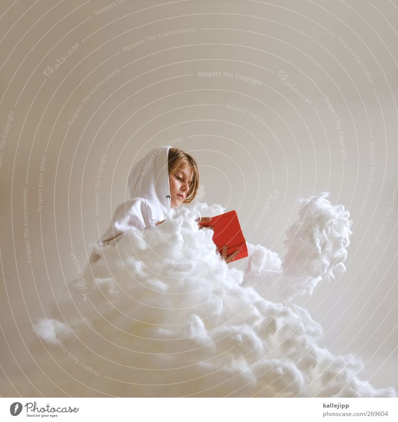 Human being Child Sky Christmas & Advent Red Girl Clouds Life Feminine Head Dream Weather Infancy Sit Book Study