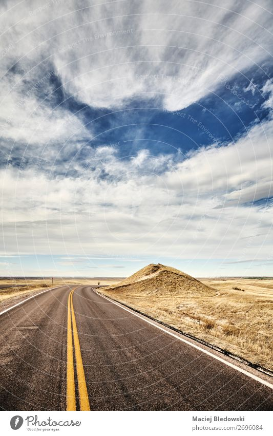 Retro toned picture of a scenic road, travel concept. Vacation & Travel Tourism Trip Adventure Far-off places Freedom Summer vacation Nature Landscape Sky