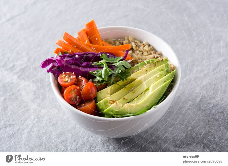 Vegan Buddha bowl with fresh raw vegetables and quinoa Bowl Vegetable Avocado Onion Tomato Carrot Cabbage Healthy Eating Food photograph Raw Vegan diet Fresh