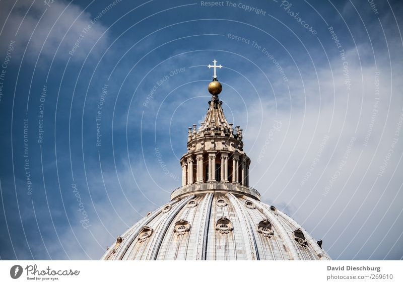Rome/Peter's Cathedral III Sky Clouds Beautiful weather Church Dome Tourist Attraction Landmark Blue White St. Peter's Cathedral Domed roof Religion and faith