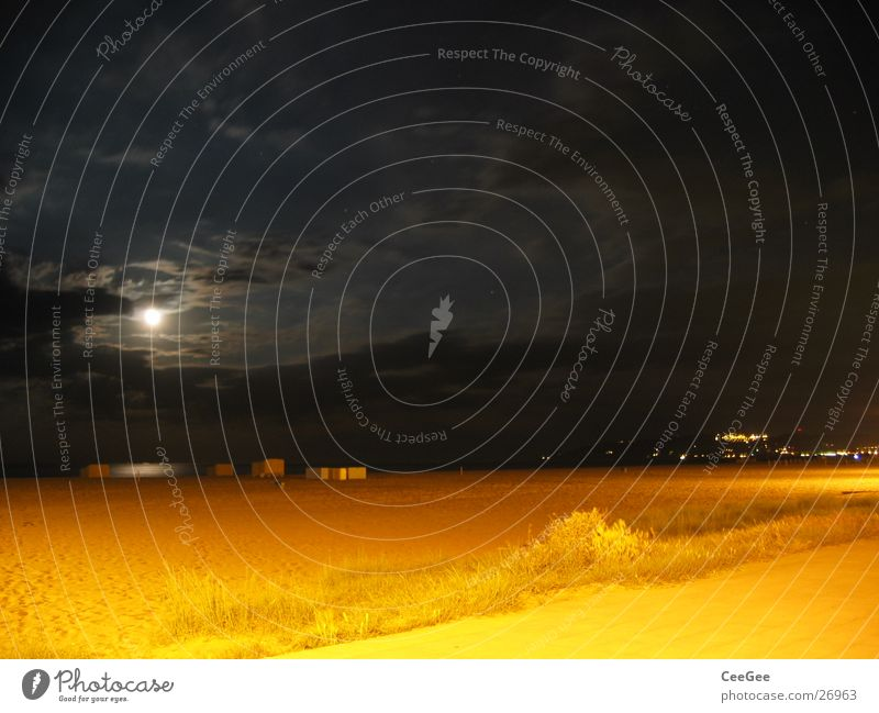 Water Sky Ocean Beach Black Clouds Yellow Dark Sand Lighting Moon
