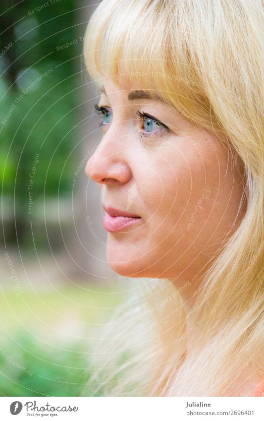 Blond woman Woman Adults 18 - 30 years Youth (Young adults) Hair and hairstyles Blonde Long-haired Blue White girl Caucasian European Lady forty one eye