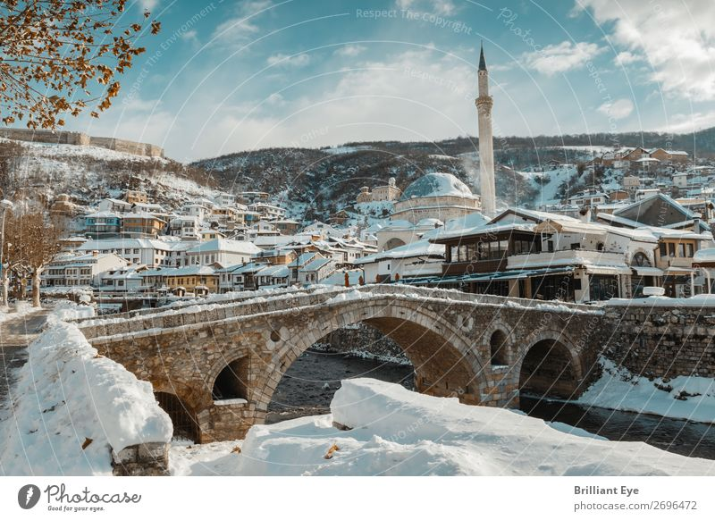 Prizren, the Old Town of Kosovo in Winter Vacation & Travel Tourism Snow Winter vacation Landscape River Europe Downtown Old town Bridge Manmade structures