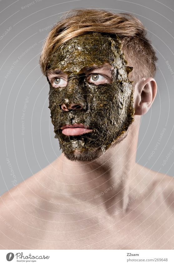masculine Algae Elegant Wellness Human being Masculine Young man Youth (Young adults) 18 - 30 years Adults Mask Hair and hairstyles Blonde Old Dream To dry up