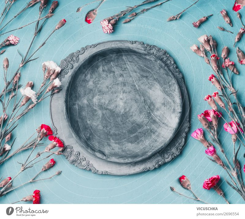 Nature Summer Plant Blue Flower Background picture Style Pink Design Decoration Empty Bouquet Still Life Plate Flowering plants Hipster