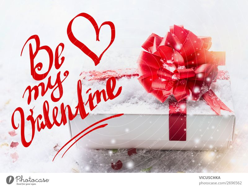 Valentine's card. Be my Valentine with gift Style Design Decoration Feasts & Celebrations Valentine's Day Bow Heart Love Text Communication