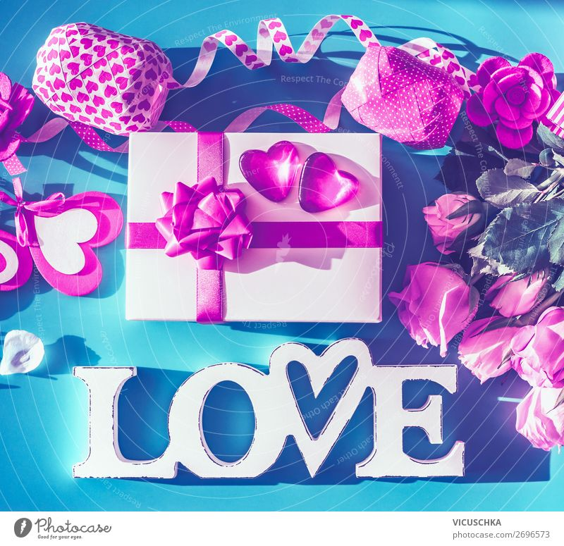 Valentine's Day Composing with LOVE Style Design Decoration Party Event Flower Rose Bow Love Pink Gift Word Text Heart Neon Colour photo Studio shot