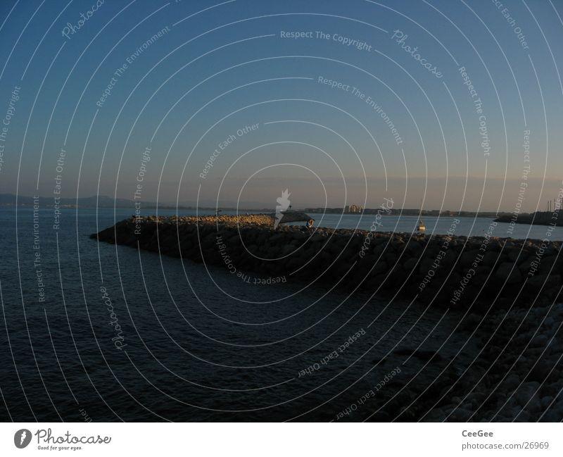 Water Sky Sun Ocean Blue Stone Wall (barrier) Rock Harbour Spain Jetty Exposure Fragment