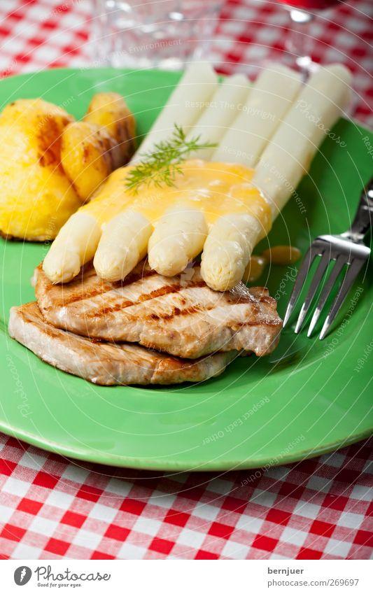 Gang of Four Food Meat Vegetable Organic produce Crockery Cutlery Fork Good Green Red White Asparagus Steak pork tenderloin Potatoes hollandaise Sauce Checkered