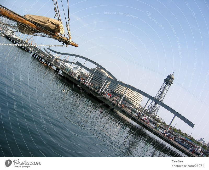 Port of Barcelona Spain Ocean Watercraft Footbridge Jetty Europe Harbour Tower Sky Blue Architecture