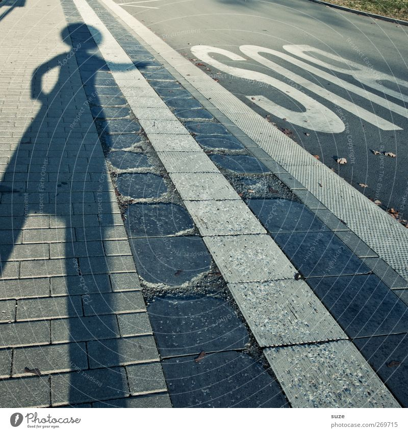 Human being Street Lanes & trails Gray Funny Body Transport Stripe Letters (alphabet) Footpath Sidewalk Typography Traffic infrastructure Humor