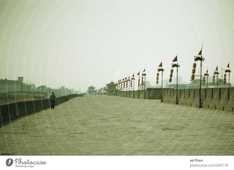The Wall Human being Man Adults 1 Sky Clouds Xian China Town Outskirts Old town Skyline Populated Castle Ruin Bridge Tower Manmade structures Wall (barrier)