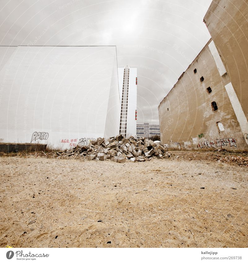 Old White City Clouds House (Residential Structure) Berlin Sand Earth New Construction site Ruin Build Dismantling Building for demolition