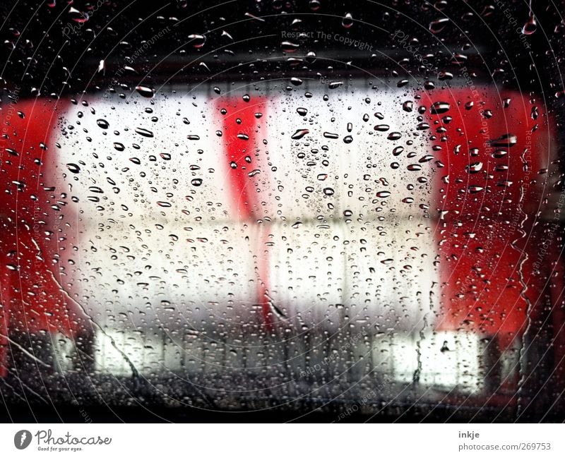 Daddy is happy Services Machinery Deserted Car wash service Transport Brush Rotate Large Wet Clean Speed Red White Pure Drops of water Inject Colour photo