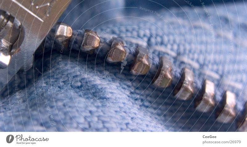 zip Zipper Pants Clothing Checkmark Glittering Stitching Industry Blue Set of teeth Metal silver Open Macro (Extreme close-up) Detail Close-up