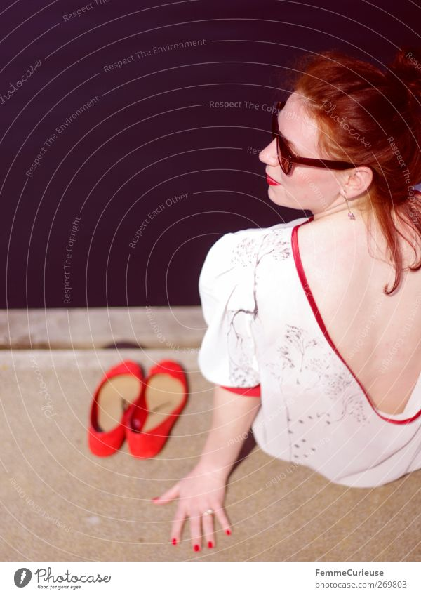A girl and her red ballerinas. Lifestyle Elegant Style Beautiful Vacation & Travel Trip Far-off places Summer Summer vacation Sun Sunbathing Feminine